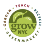 Grow NYC logo: an apple with this text: Garden, Teach, Recycle, Greenmarket