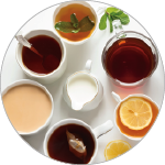 Photo of cups with a variety of teas.