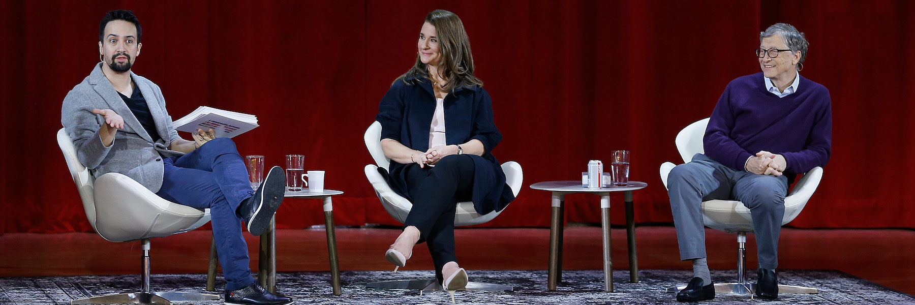 A conversation between Lin-Manuel Miranda and Bill and Melinda Gates at Hunter College